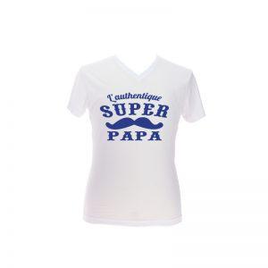 Tshirt blanc authentique super papa special fete des pères