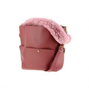 sac à main anses fourrure rose pour l'hiver