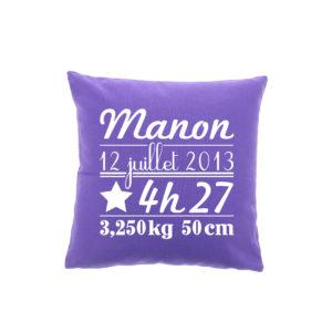 Coussin naissance personnalisé violet by Matao