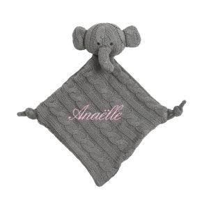 doudou elephant personnalisé collection tricot enfant