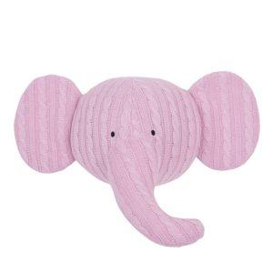 Trophée tête d'éléphant décoration collection tricot enfant